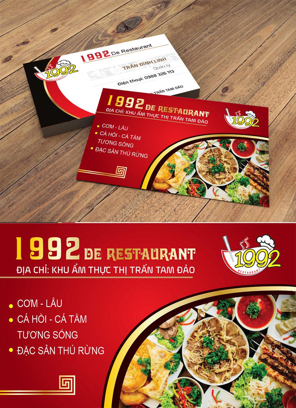 Mẫu danh thiếp namecard nhà hàng 1992